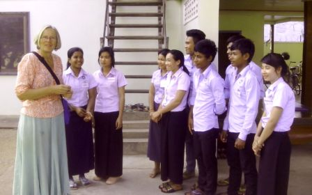Cambodian students learing about growing happy plants